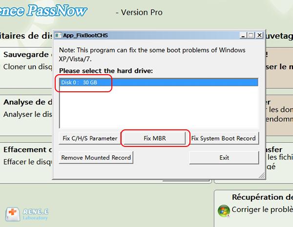 sélectionner le disque dur à récupérer