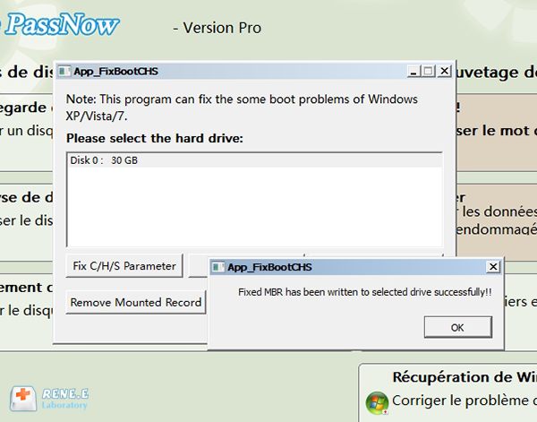 lancer la réparation du disque dur