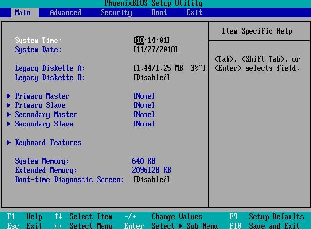 menu du BIOS