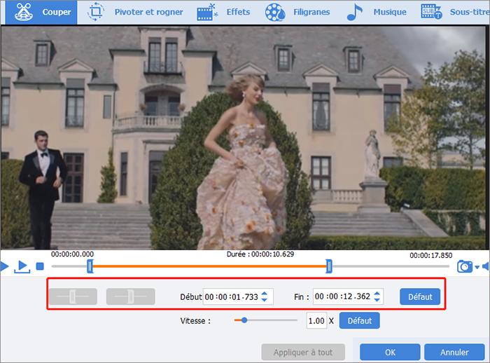 La fonction de coupage de la vidéo