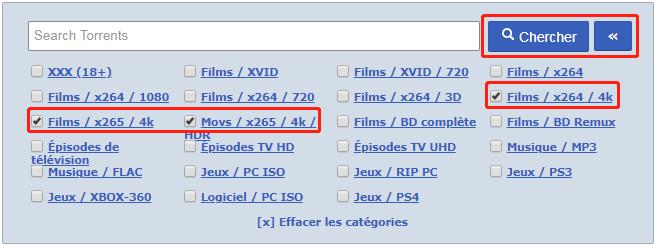 rechercher les vidéos 4K