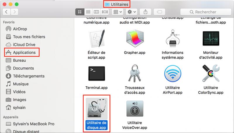 ouvrir l'application Utilitaire de disque