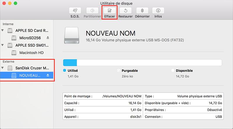 cliquer sur le bouton Effacer pour savoir comment formater une carte SD