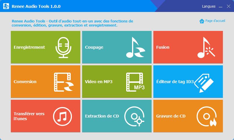 menu principale - Renee Audio Tools