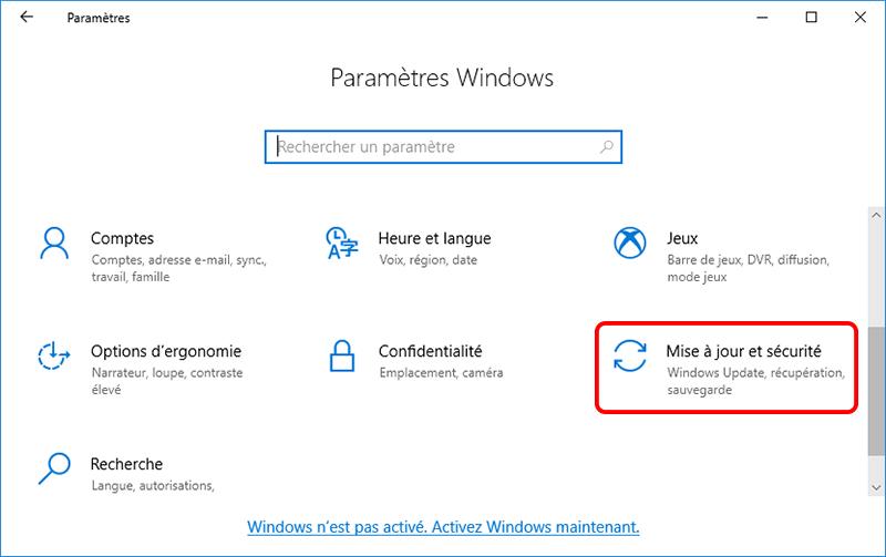 fonction mise à jour et sécurité dans les paramètres Windows