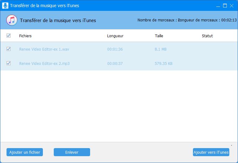 transférer le fichier audio vers iTunes