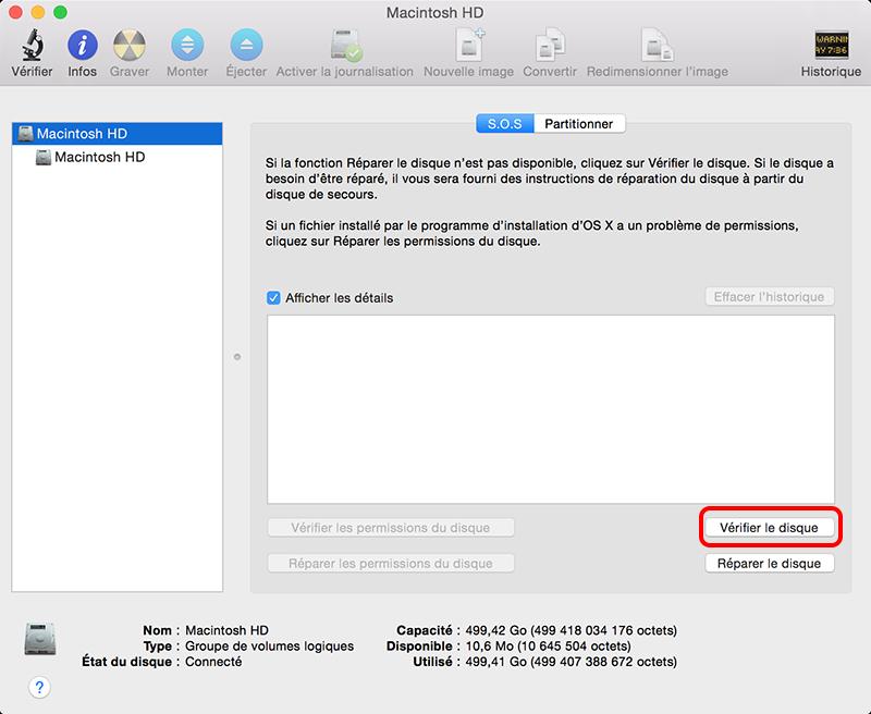vérifier le disque sur mac
