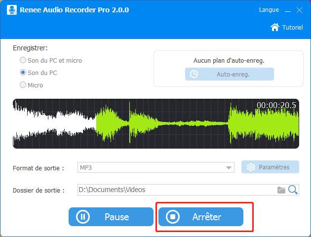 arrêter audio recorder pro