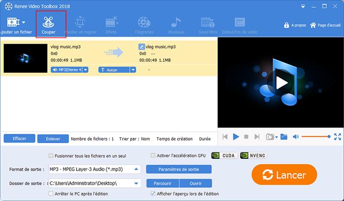 couper le fichier audio