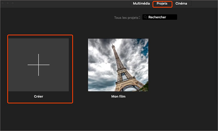 créer nouveau projet iMovie