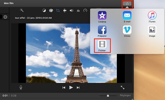 bouton de fichier iMovie pour extraire le son