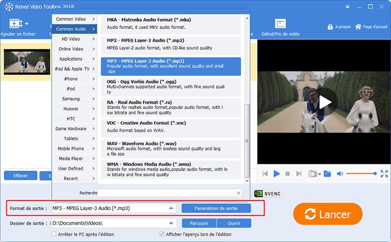 définir le format en mp3 pour extraire le son d'une vidéo