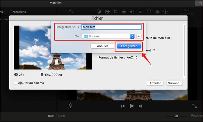 enregistrer l'audio sous iMovie