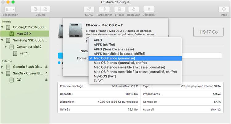effacer le format du disque dur externe Mac
