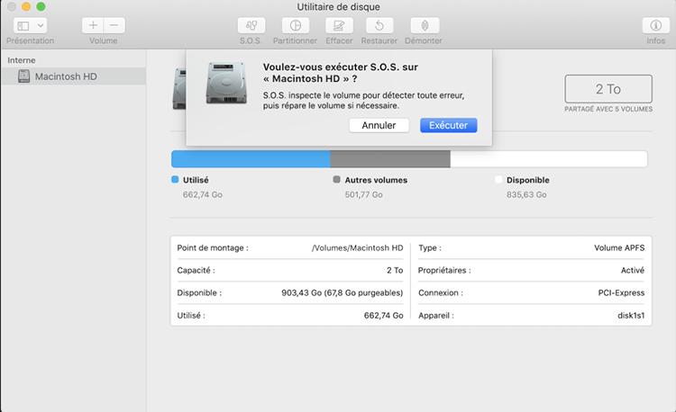 outil s.o.s. système mac