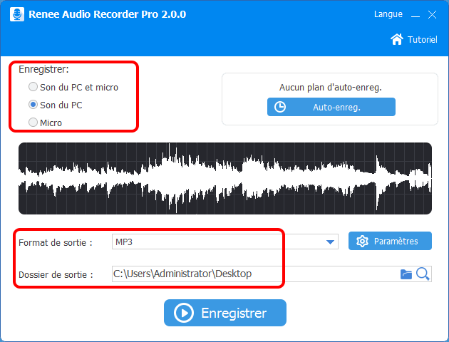 définir les paramètres dans Renee Audio Recorder Pro
