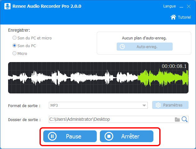 enregistrer l'audio