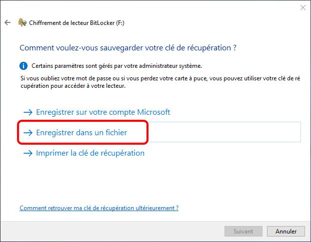 enregistrer la clé de récupération de BitLocker