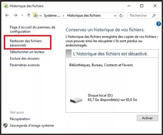 historique des fichiers windows