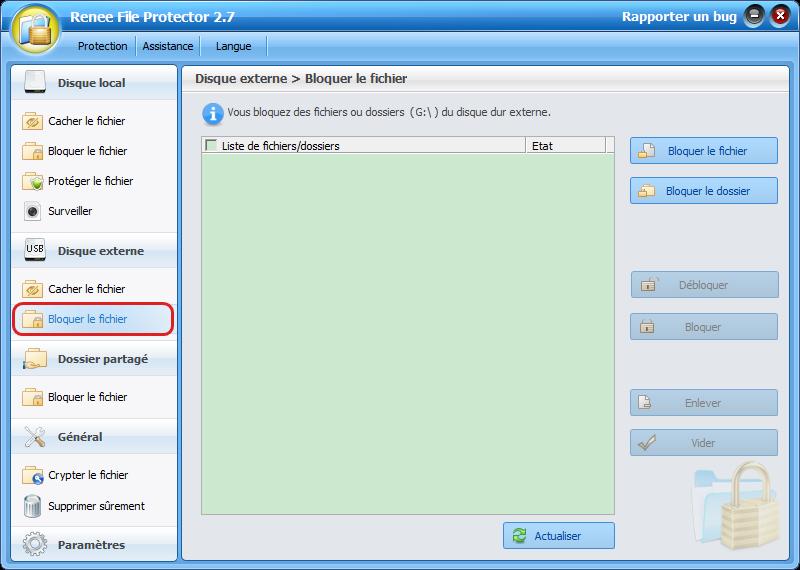 sélectionner la fonction bloquer le fichier sous disque externe