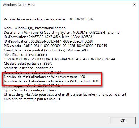 Windows Script Host pour activer le système Windows