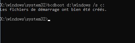 créer le fichier démarrer avec la commande bcdboot