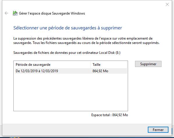 choisir une période pour supprimer la sauvegarde Windows 10