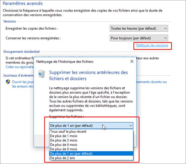 supprimer la sauvegarde Windows 10