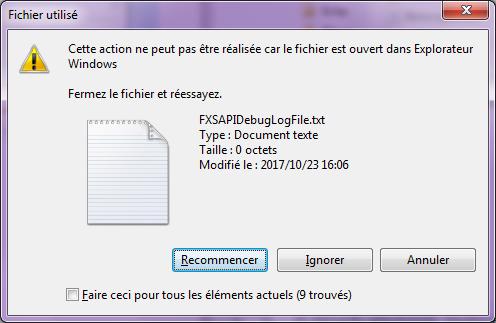 ignorer un fichier ouvert