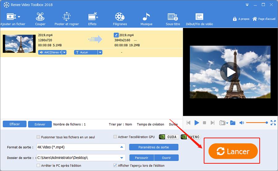 lancer conversion de format vidéo 4K