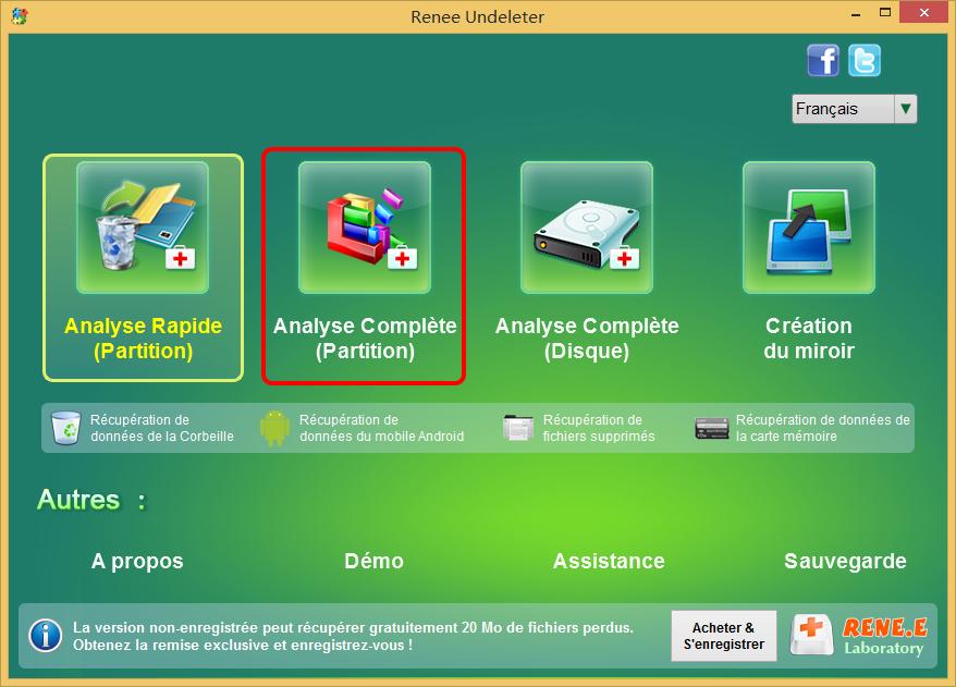 sélectionner la fonction Analyse complète (partition) dans Renee Undeleter