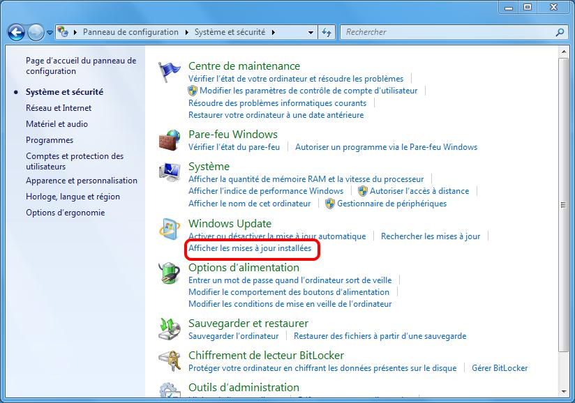 afficher les mises à jours installées sous Windows 7