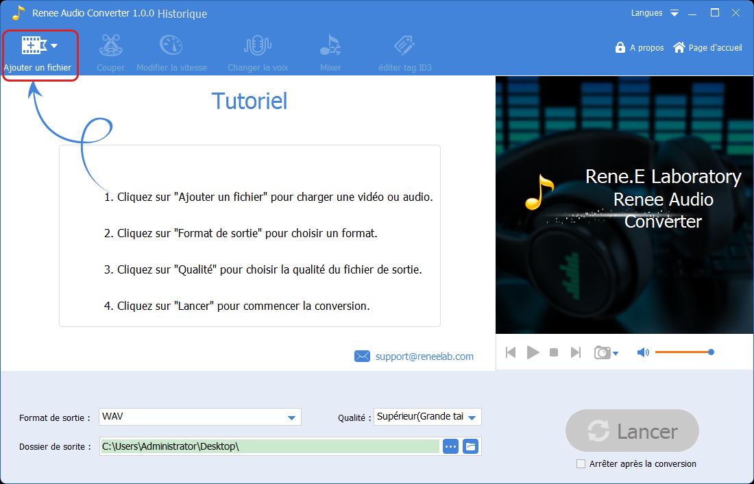 ajouter un fichier audio dans Renee Audio Tools
