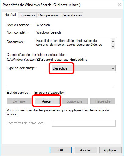 désactiver et arrêter Windows Search pour optimiser le SSD