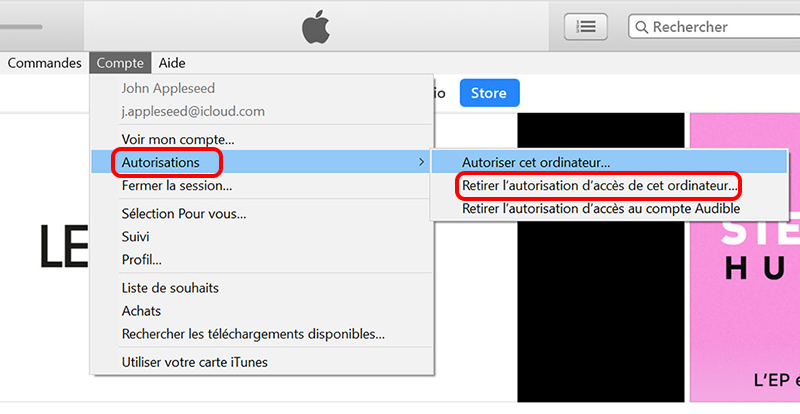 retirer l'autorisation d'accès iTunes