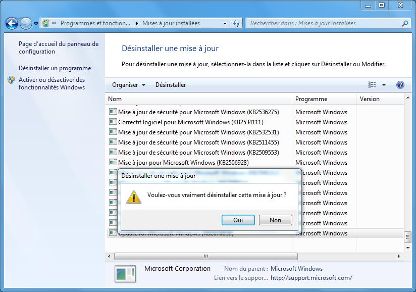 désinstaller la mise à jour KB971033 pour supprimer l'erreur de cette copie de windows n'est pas authentique