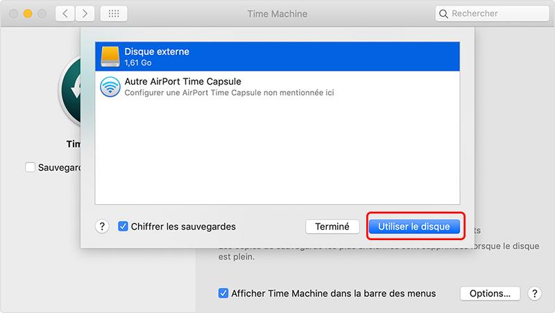 sélectionner le disque dur de destination