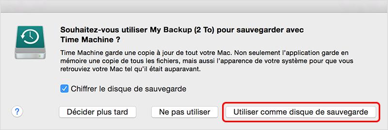 sauvegarder sur un disque dur avant de réinitialiser le Macbok
