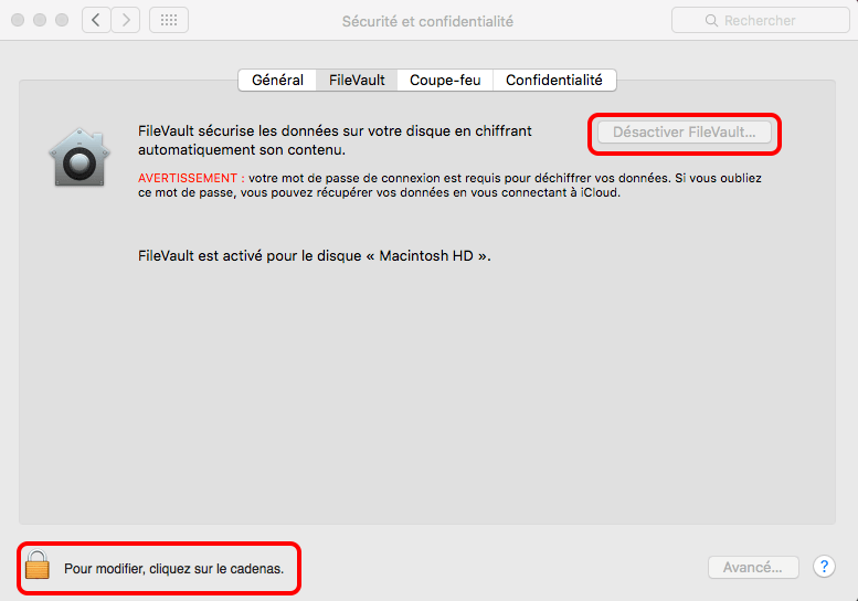 désactiver FileVault