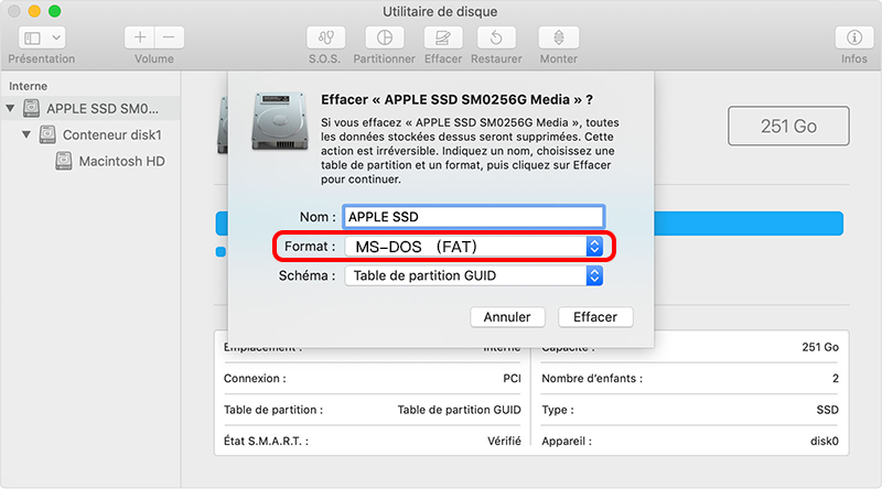 formater la carte SD en FAT32 sous Mac