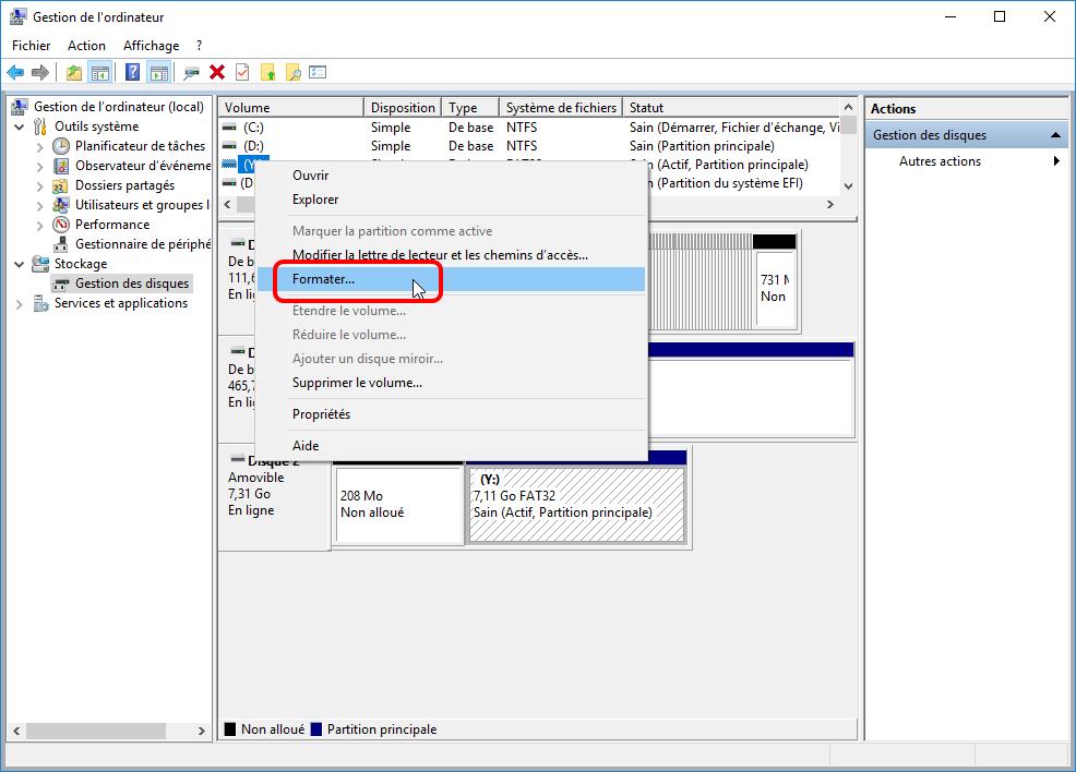 comment formater une carte SD et formater un disque dur sous Windows 10 dans la Gestion des disques