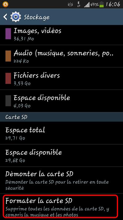 formater la carte SD sur le mobile Android