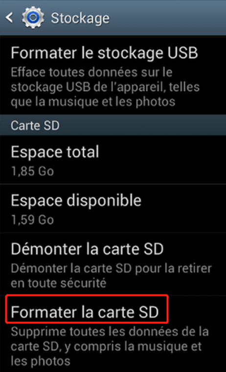 formater la carte SD Android