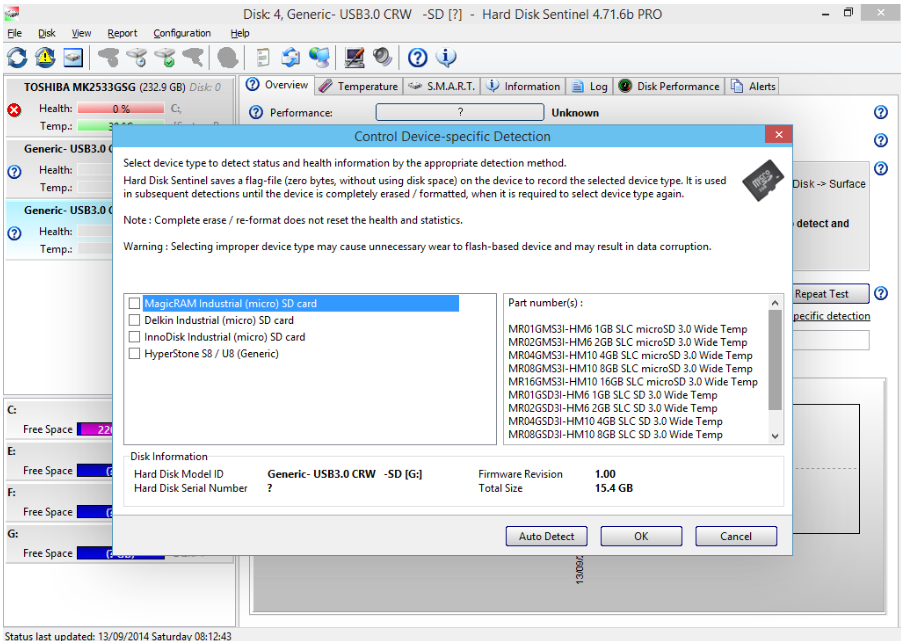 sélectionner la carte SD cible dans Hard Disk Sentinel