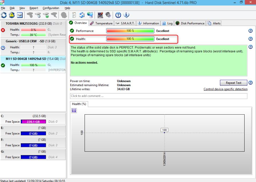 Vérifier les informations de la carte SD dans Hard Disk Sentinel