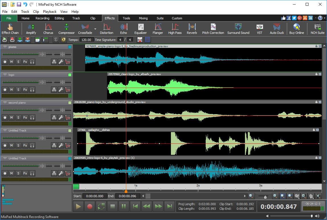 MixPad sert à mix de la musique