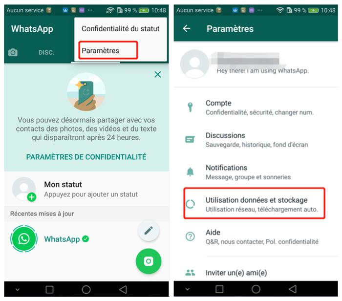 régler le paramètre de stockage whatsapp