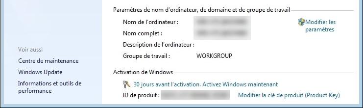 période disponible avec l'activation de Windows 7