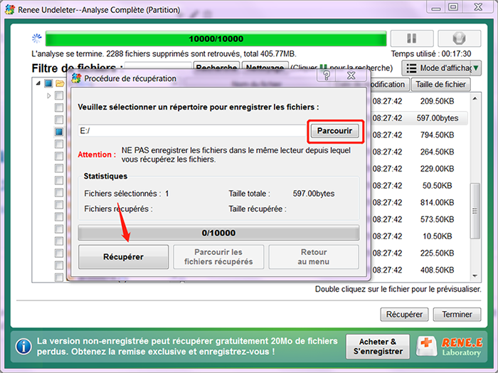 sélectionner un dossier pour enregistrer le fichier récupéré