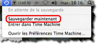sauvegarder maintenant le Macbook avec Time Machine